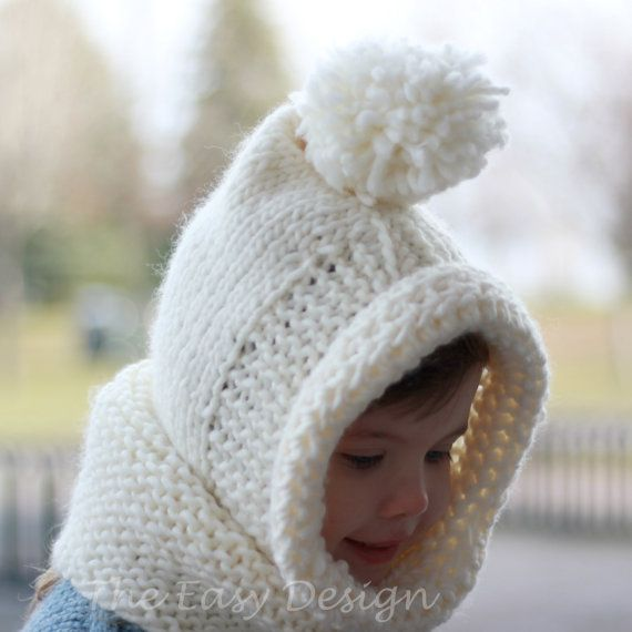 Knitting pattern, Patron tricot – Bambi Hooded Cowl Hood Hat Bonnet ...