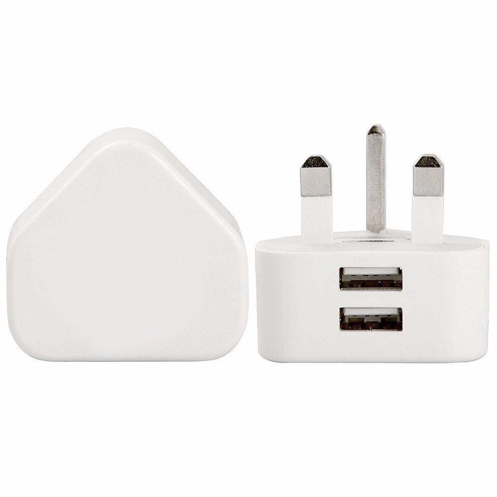 2 usb wall charger 3pin uk plug usb port ac power 2a
