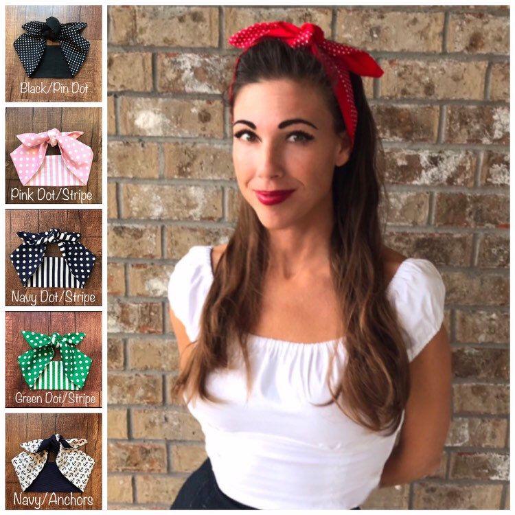 0b6756a16673 Extra Wide Miranda Retro Hair Wrap Head Scarf Self Tie Headband Rosie the  Riveter 1950s 1940s Rockabilly PinUp Vintage Adult