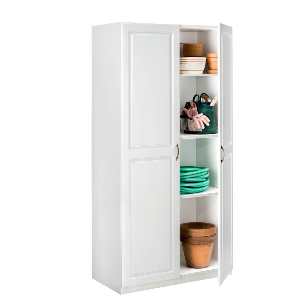 Closetmaid 71 75 In H X 36 In W X 18 625 In D Laminated 2 Door Raised Panel Storage Freestanding Cabinet In White 12316 The Home Depot Wide Storage Cabinet Storage Cabinet White Storage Cabinets