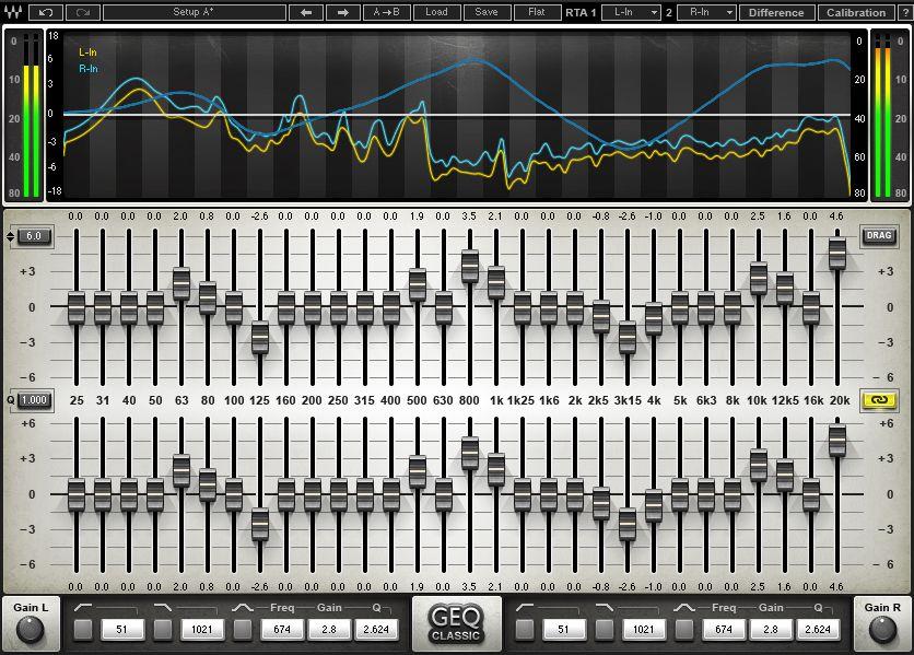 GEQ Graphic Equalizer   Software in my studio   Waves audio