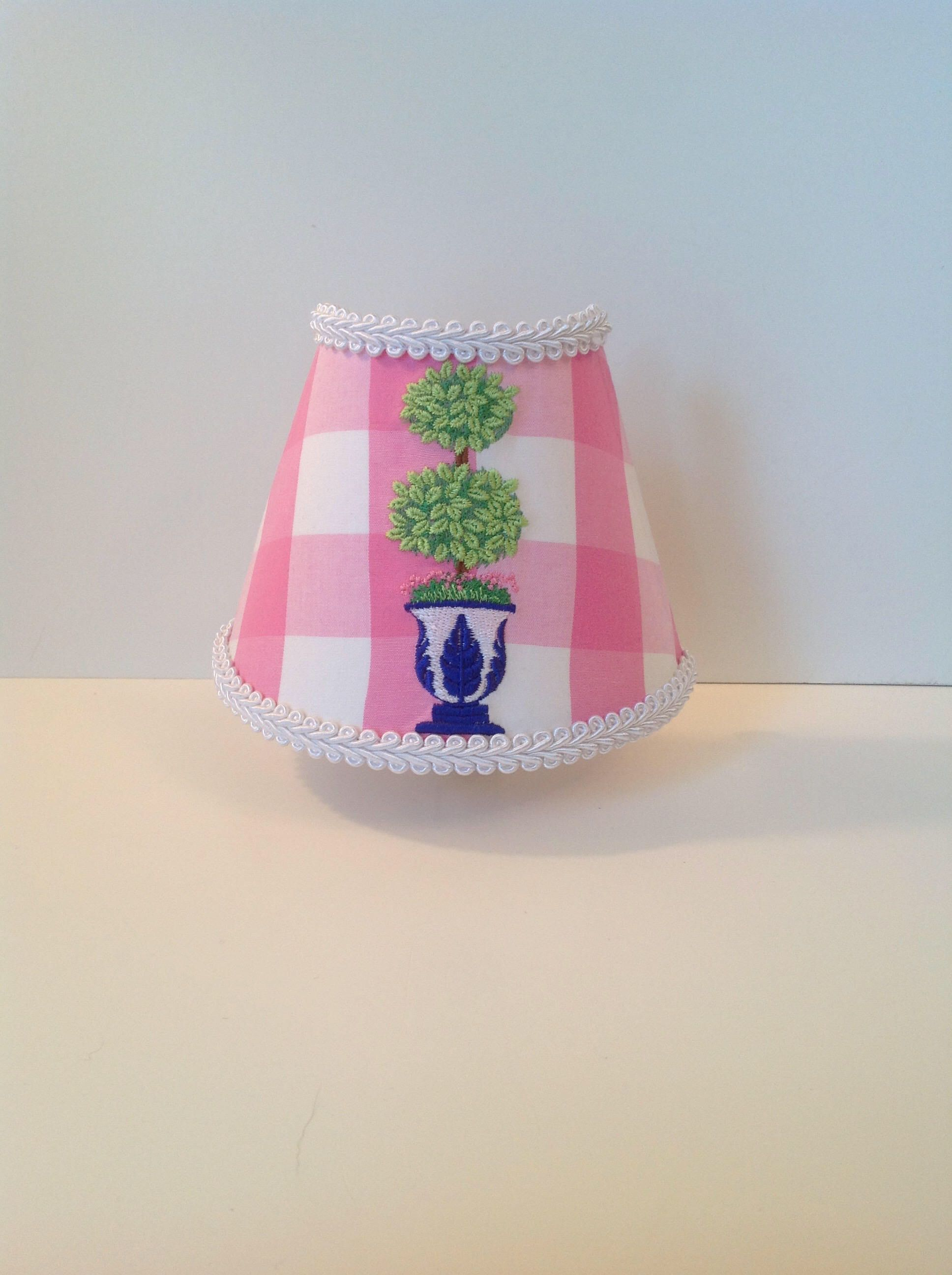 Topiary Night Light (pink and white gingham, blue and