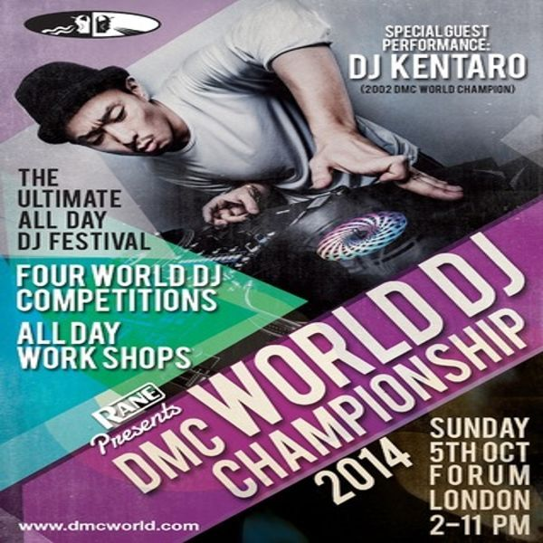 Rane presents: The DMC World DJ Championships Final 2014 at The Forum, 9-17 Highgate Road, London, NW5 1JY, UK. On Oct 05,2014 at 2:00pm to 11:00pm.  The event will feature a very special performance from Japan's DJ Kentaro who as 2002's World Champion is himself no stranger to DMC glory, in what promises to be a dizzying display of stunning turntable techniques.  URL: Facebook: http://atnd.it/15524-1  Category: Nightlife  Price: Advance £20  Artists: Kentaro & DJ's from all over the globe