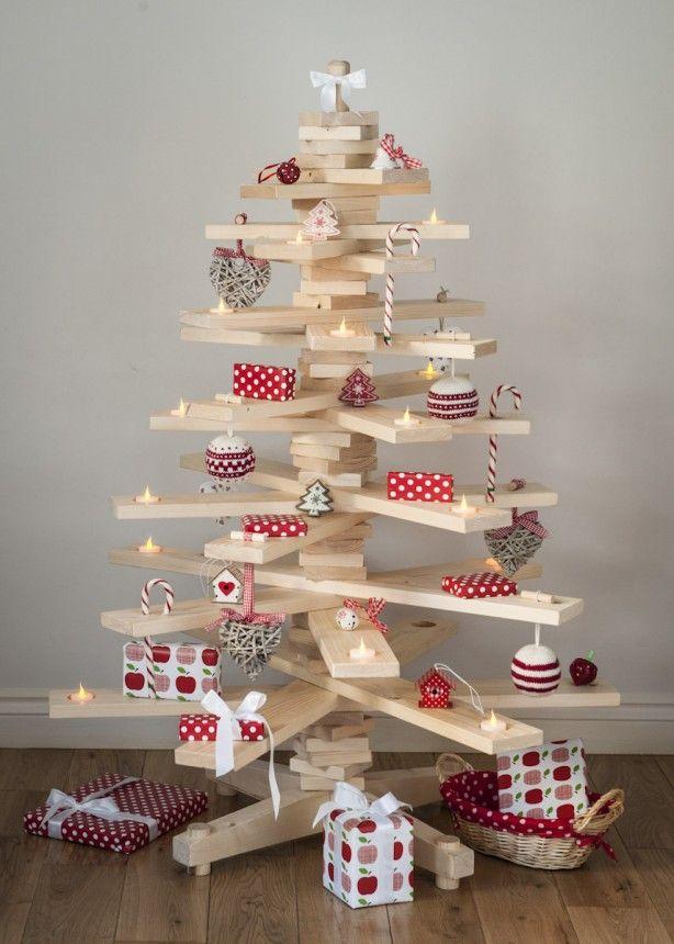 Timba Tree Als Kerstboom Zelfgemaakte Kerstboom Houten Kerstbomen Versierde Kerstbomen