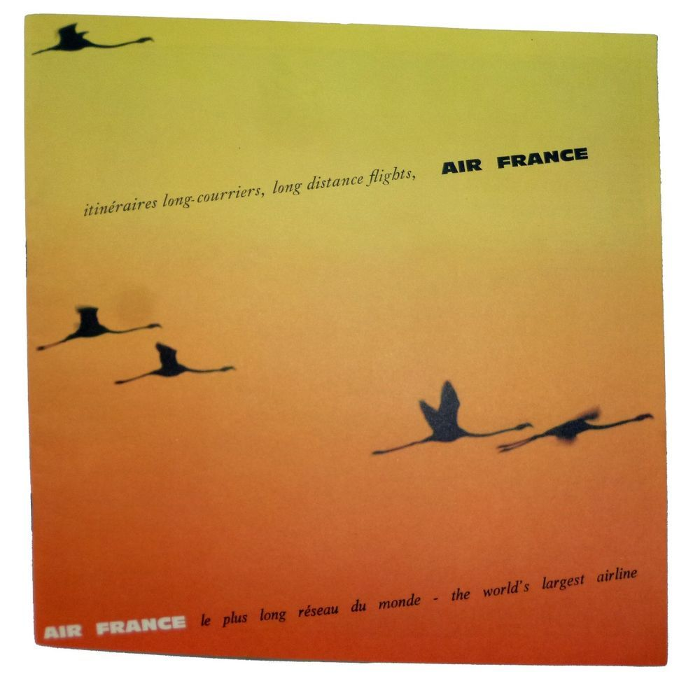 AIR FRANCE AIRLINES 1964 -WELCOME SERVICE ILLUSTRATED ROUTE MAP ...