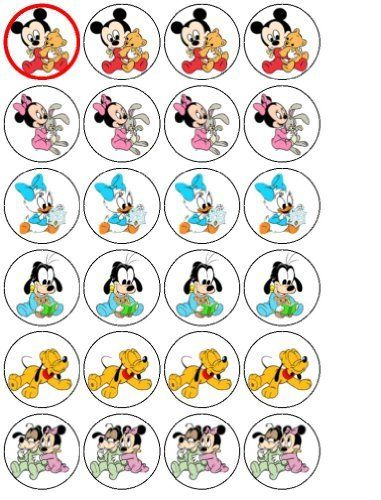 24 Baby Mickey Mouse and Friends Cupcake Wafer Toppers by coyote