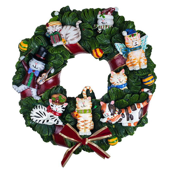 cat christmas wreaths Holiday Cats Musical Wreath by San