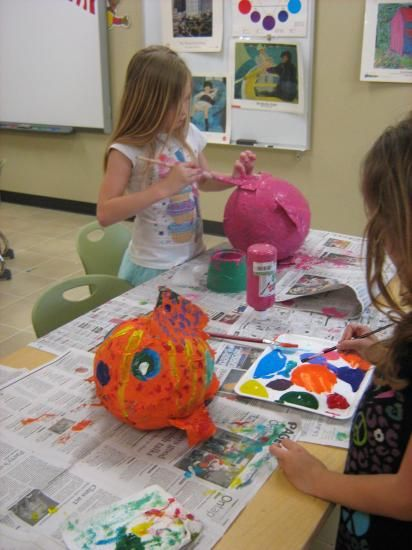 paper mache fish kids making sculpture and 3d