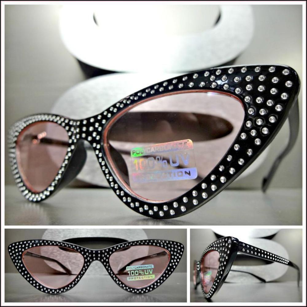 6212c5e307 Elegant VINTAGE 50 s RETRO Cat Eye Style SUN GLASSES Bling Black Frame Pink  Lens