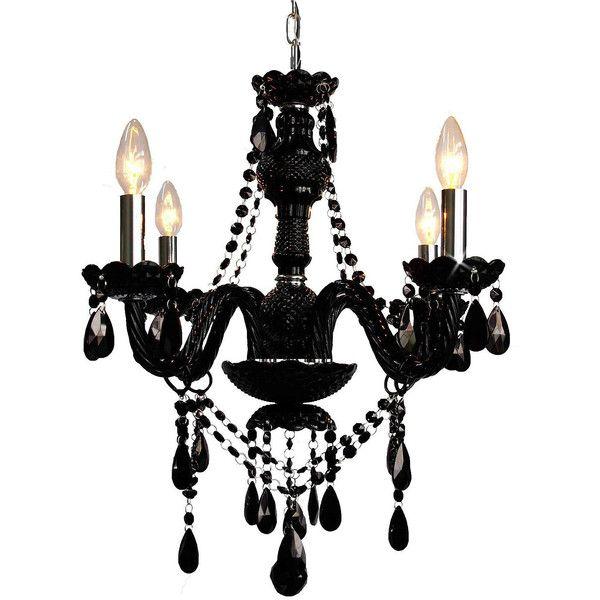 4 Light Venetian Style Crystal Jet Black Chandelier 255 Liked On