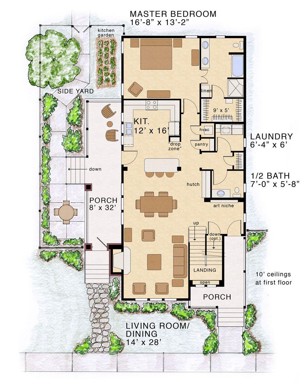 modern farmhouse open floor plans narrow lot