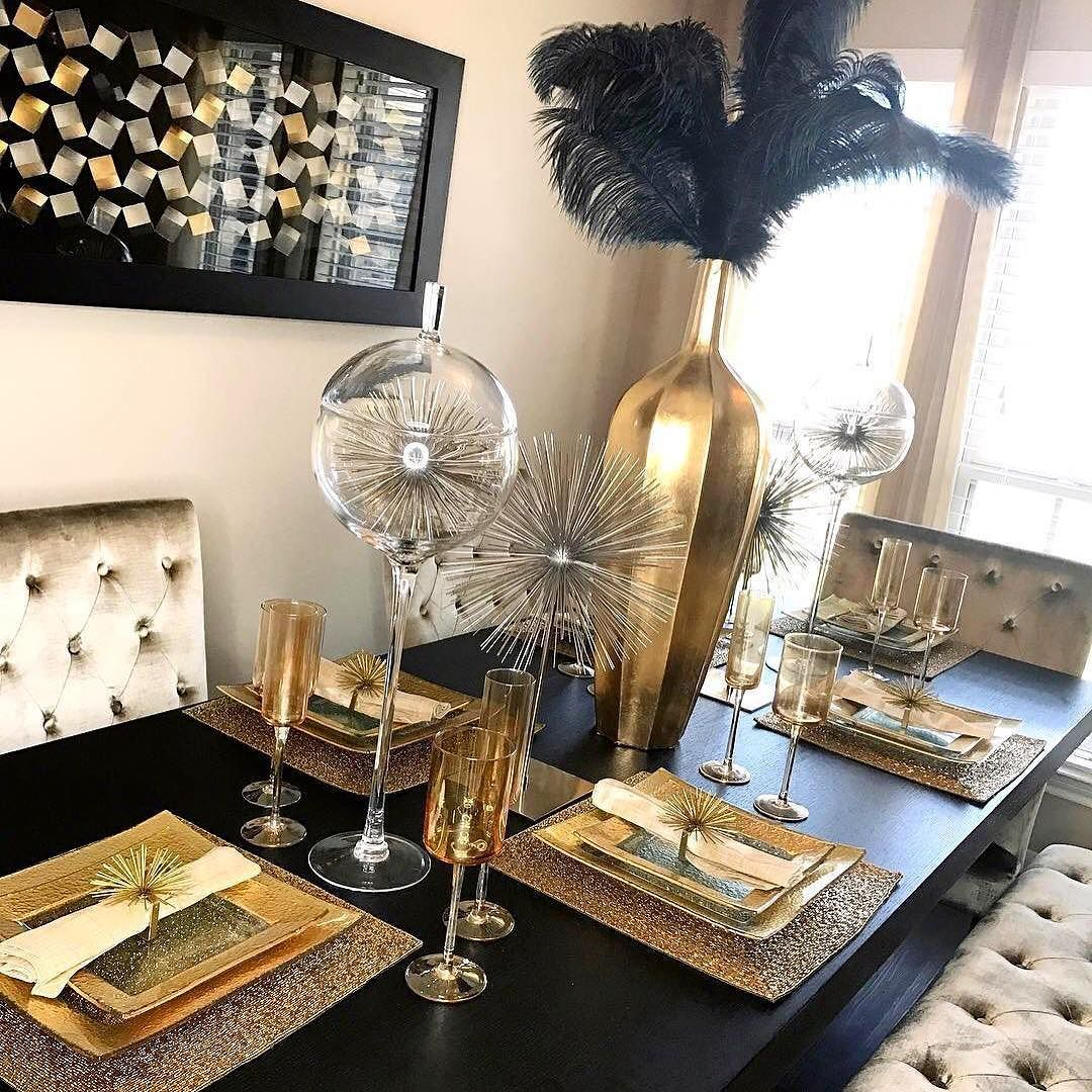 This Is How We Do Halloween A Color Palette Of Black Gold Silver That Epic Ostrich Sp Dining Room Table Decor Gold Dining Room Table Gold Dining Room