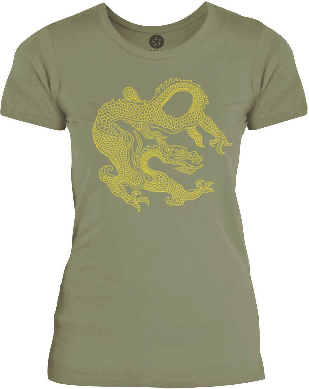 Big Texas Eastern Dragon (Yellow) Womens Fine Jersey T-Shirt
