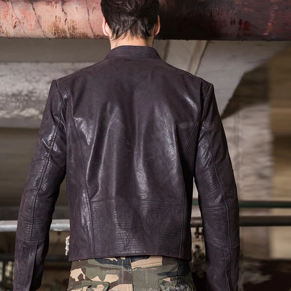 Men's Real Leather Jacket Men Leather Coat Motorcycle