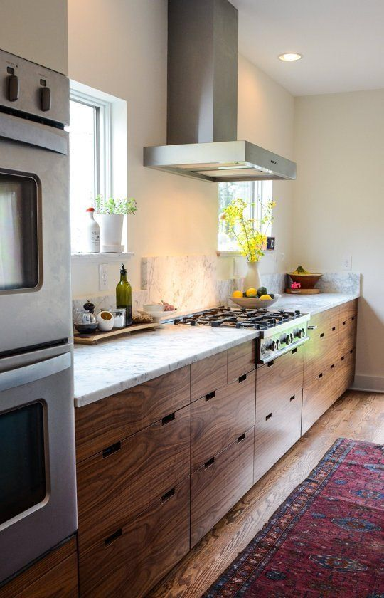 White Countertop With Walnut Dawn Wood Grain By Ikea And Semihandmade Modern Walnut Kitchen Walnut Kitchen Cabinets Kitchen Renovation