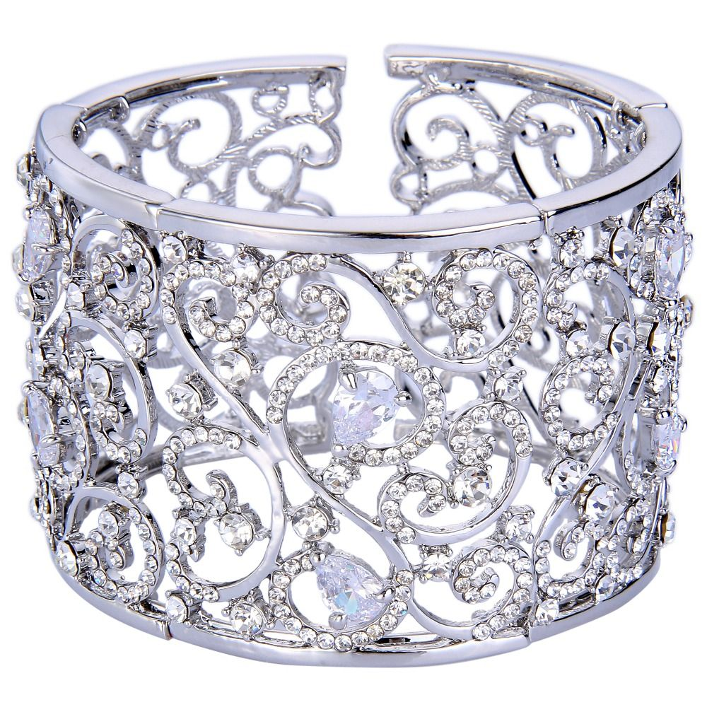 Bella new silver plated waves flowers wedding bracelets u bangles