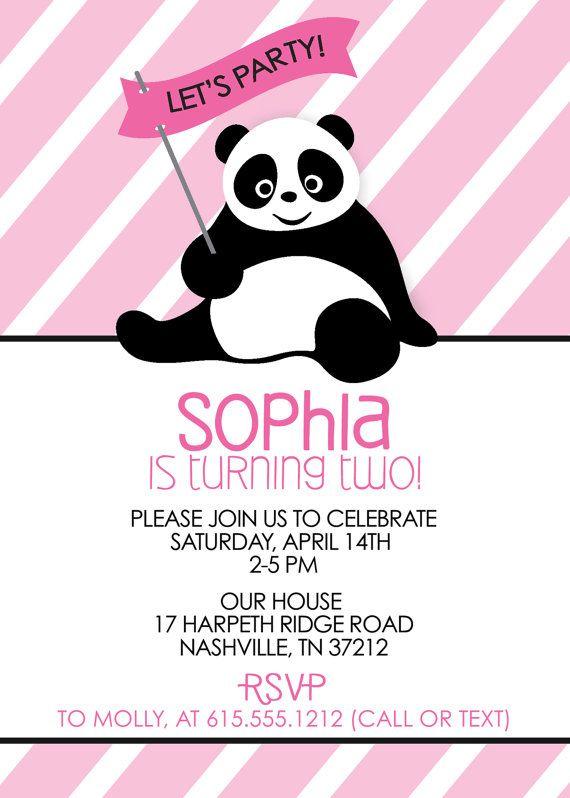 panda party invitation birthday party invitation by