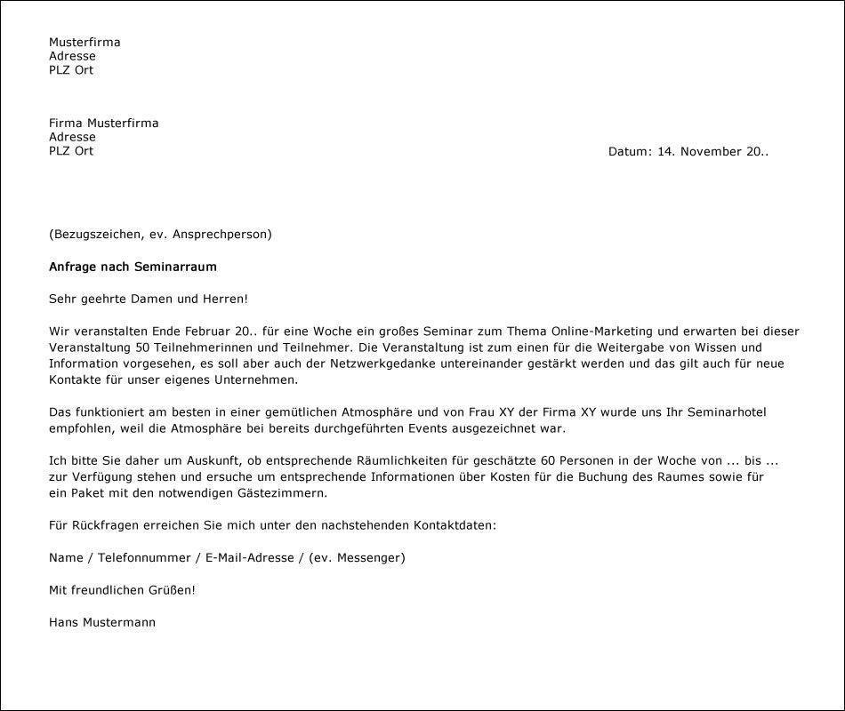 Praktisches Beispiel Fur Einen Brief Als Anfrage Fur Veranstaltungen Muster Mustertexte Anfrage Schreiben Brief Ein Brief