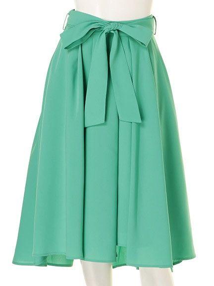 共布ベルト付きストライプ柄スカート