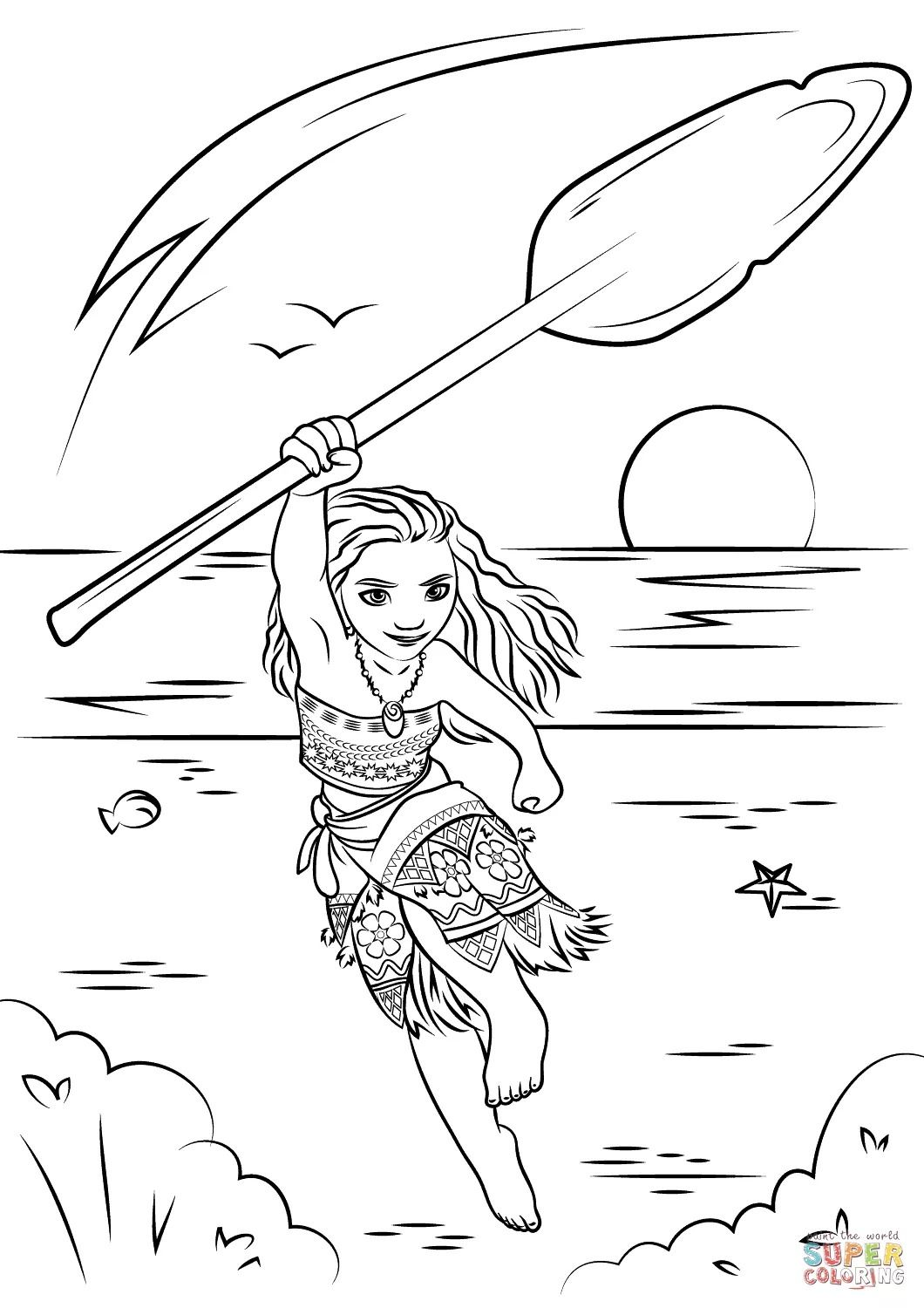 Free Baby Moana Coloring Pages Background