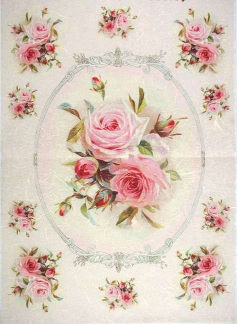 Rice Paper for Decoupage Decopatch Scrapbook Craft Sheet Roses on Pink Color