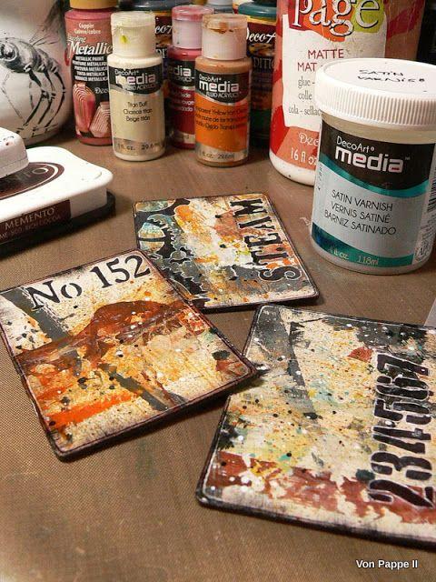 Trio of Mixed Media ATCs by Claudia Neubacher #decoartprojects