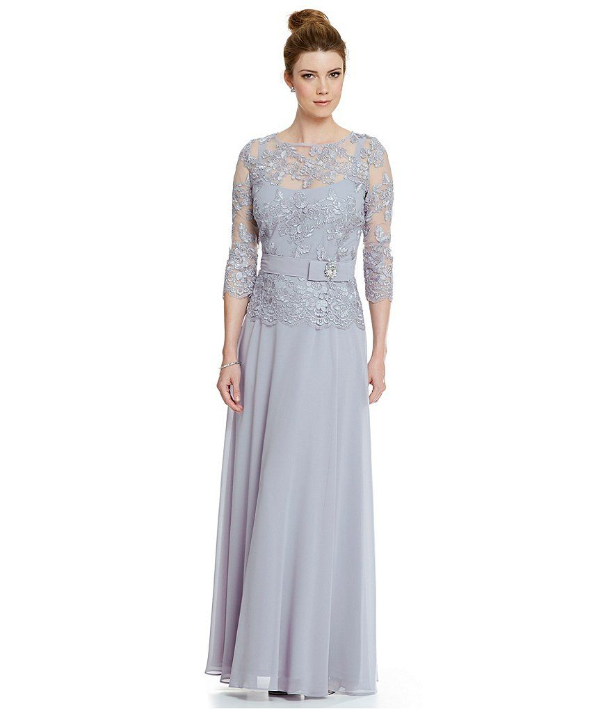 Emma Street Embroidered Lace Chiffon Gown   ashley and stephen ...