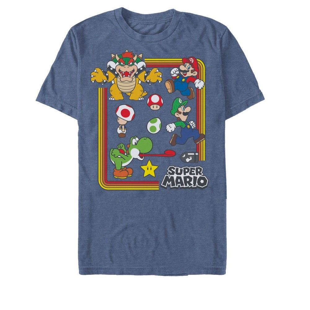 Fifth Sun Mens Nintendo Slim Fit Short Sleeve Crew Graphic Tee Blue 2x Large In 2021 Super Mario Shirts Navy Blue T Shirt [ 1000 x 1000 Pixel ]