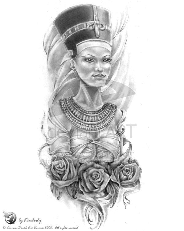 Nefertiti Tattoo Sleeve Queen nefertiti and rose | Tats ...