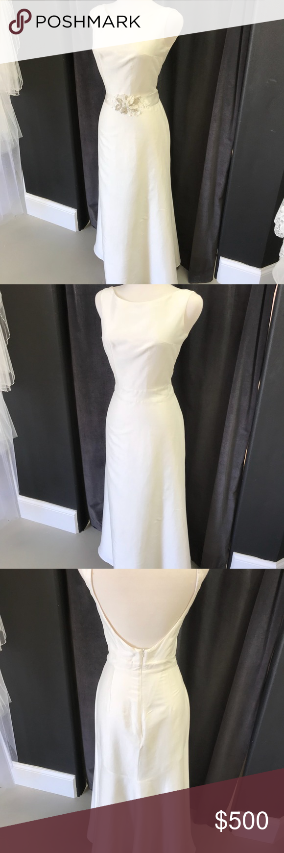 Raw silk wedding dress  Simple Wedding Dress Boat neck low back Color Ivory Material Raw