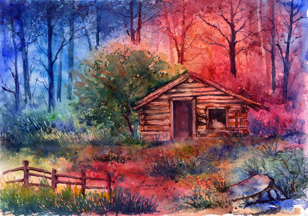 Log cabin in the woods painting -