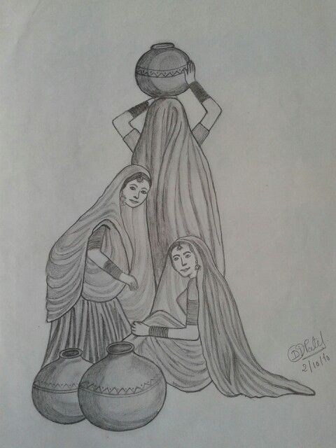 Village woman pencil shading drawing | DIY and crafts in ...