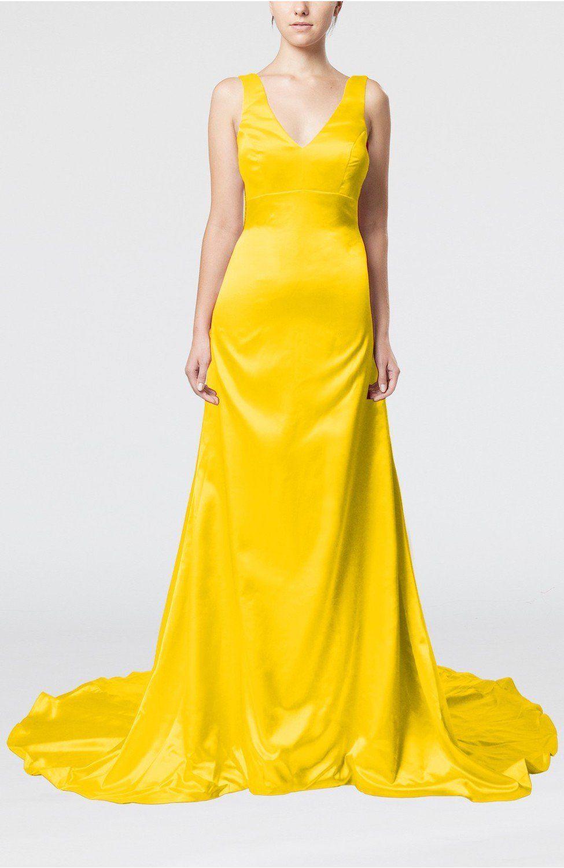 Yellow evening dress simple column vneck sleeveless zip up court