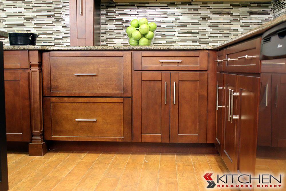 Sleek transitional style kitchen warm wood finish love for Shaker style kitchen handles