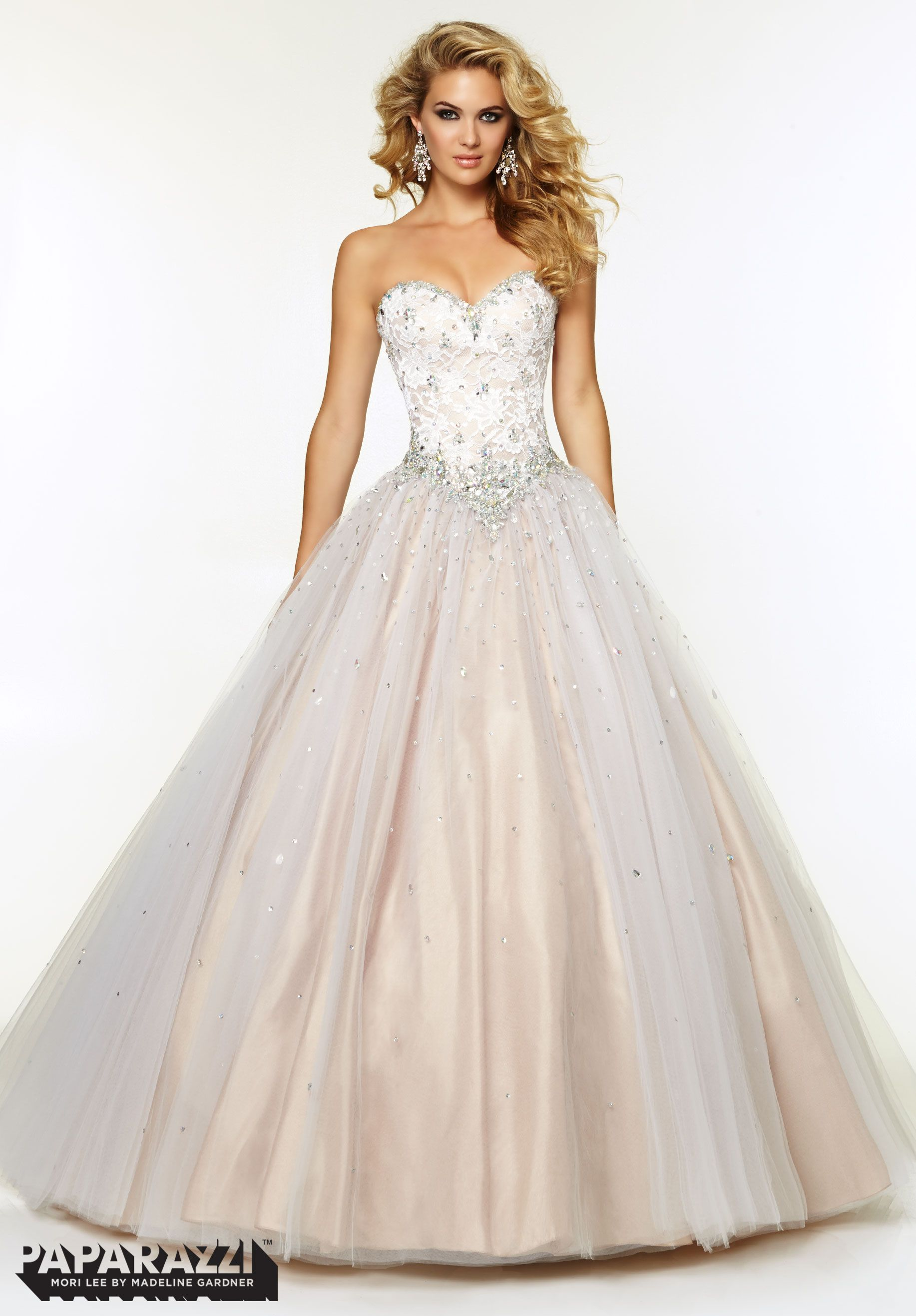 #prom #Dresses / #Gowns #Style 97076: #Jeweled #Beading on #Lace and #tulle Ball#Gown  http://www.paparazziprom.com/prom/paparazzi/97076