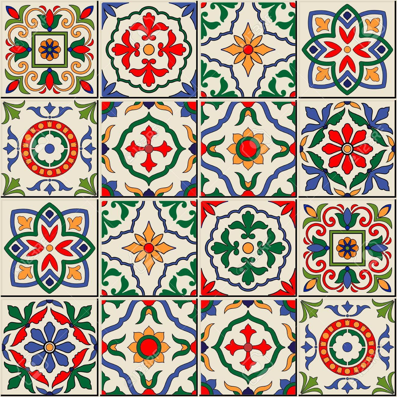 Gorgeous Seamless Pattern White Colorful Moroccan Portuguese Tiles Azulejo Ornaments Can Be Used For Stock Vector