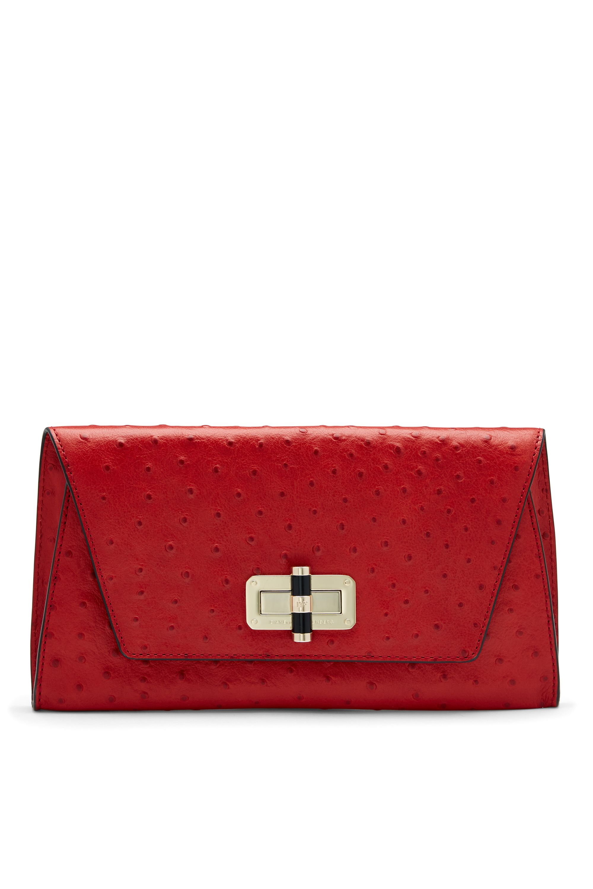 440 Gallery Uptown Embossed Ostrich Clutch