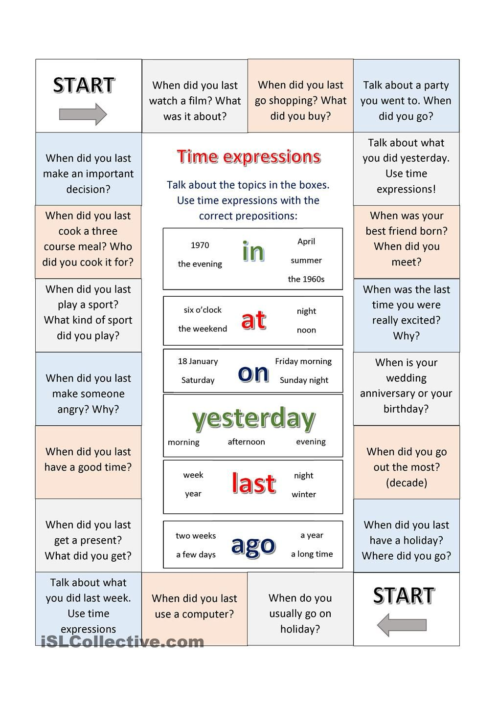 Boardgame using time expressions Juegos en ingles