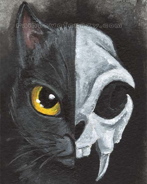 Black Cat Print Skull Art Halloween Decor Animal Skeleton