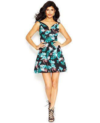 GUESS Cap-Sleeve Boat-Neck Flared Dress - Juniors Dresses - Macy's