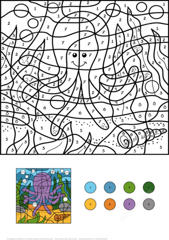 Funny Octopus Color By Number Coloring Page Free Printable Coloring Pages Octopus Colors Coloring Books Coloring Pages