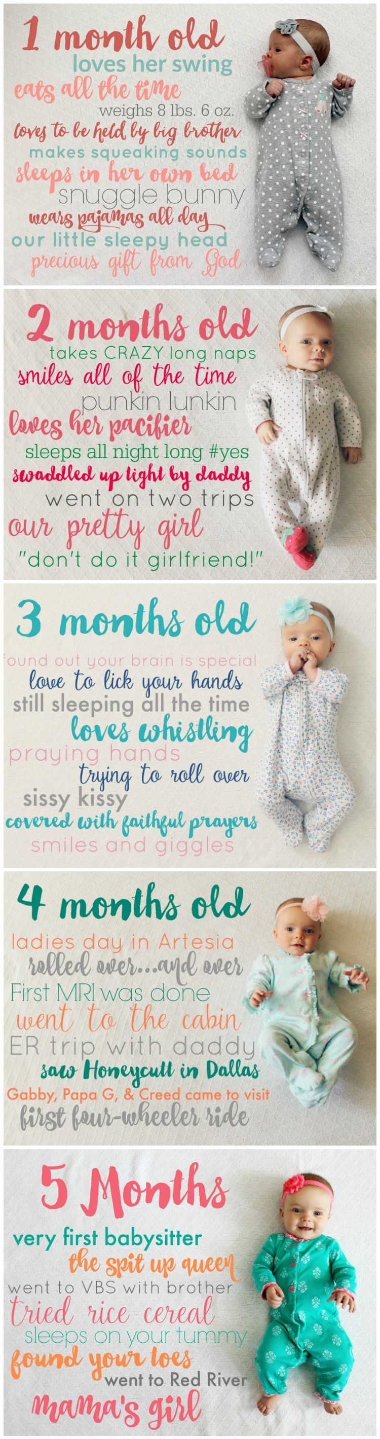 Creative and Easy Monthly Baby Picture Ideas: Baby Stats Monthly Picture Idea from the Child at Heart Blog