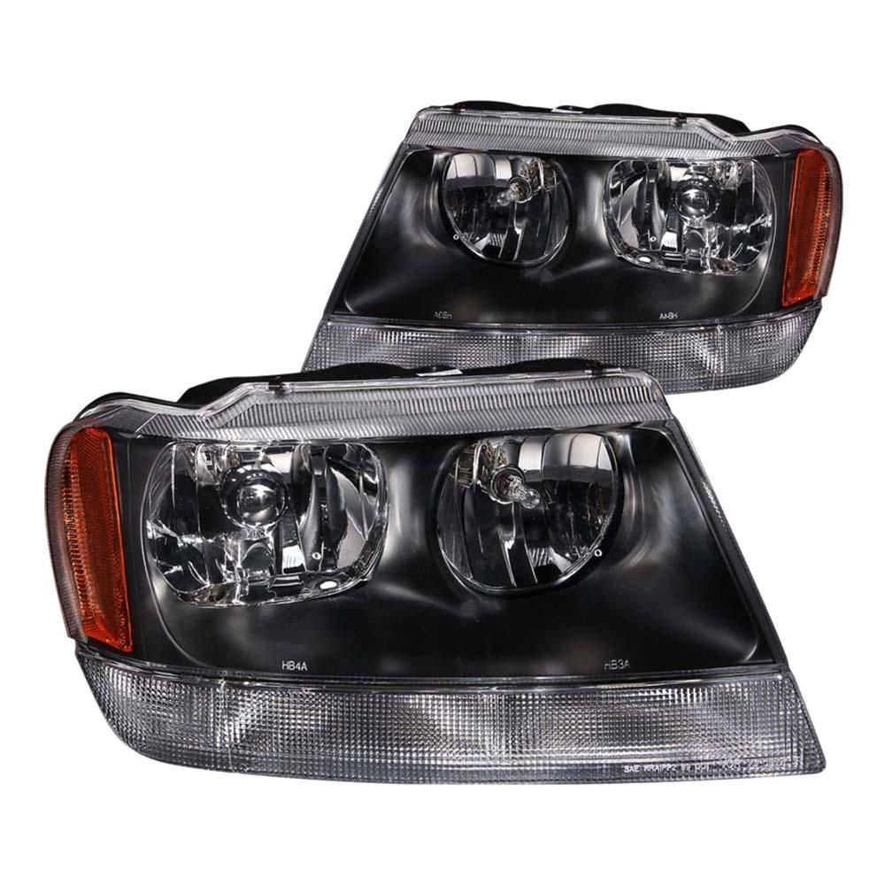 Anzo 1999 2004 Jeep Grand Cherokee Crystal Headlights Black 111042