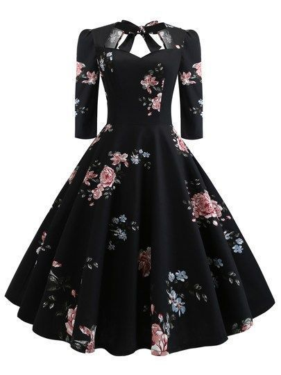 Dress elegant 50s floral print knot dress  Outfits  50s Knotenkleid mit Blumendruck  Outfits  50s