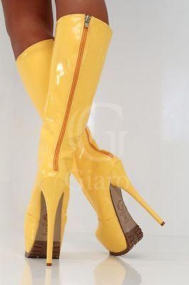 1367900dadb 37 STIVALI SEXY GIALLO VERNICE TACCO GIARO FETISH YELLOW PATENT... Shoes  Heels Boots
