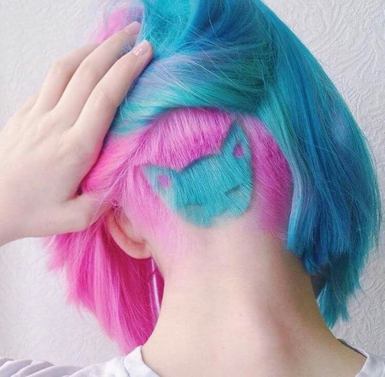 Pink Blue Aqua Kitty Cat Undercut Hair Cool Hair Color Rainbow