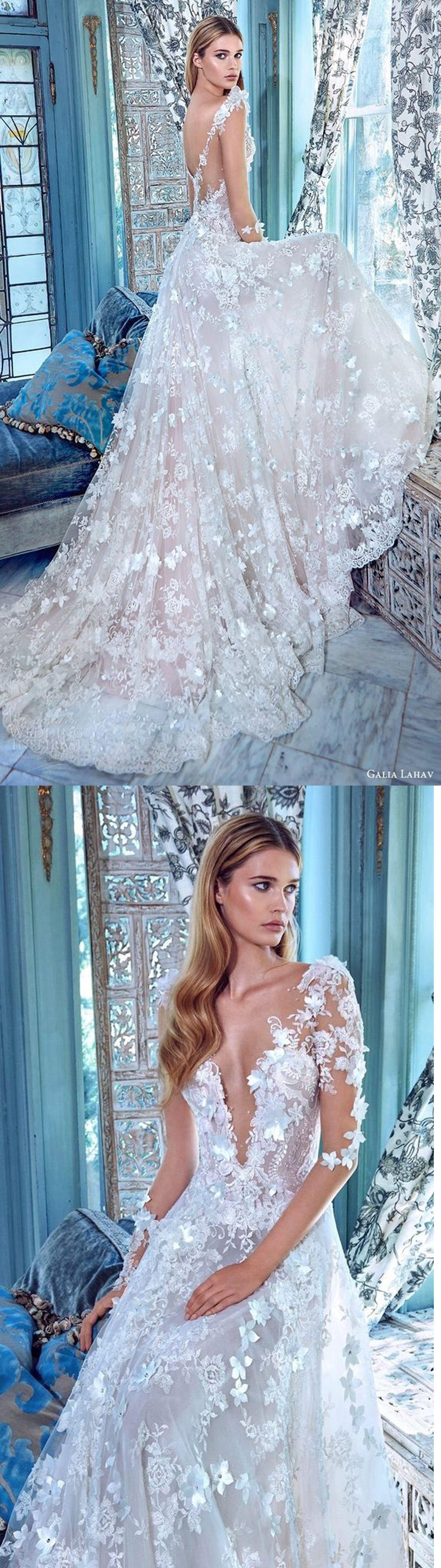 V-Neck Wedding Dress,Lace Wedding Gowns,Appliques Evening Dresses ...