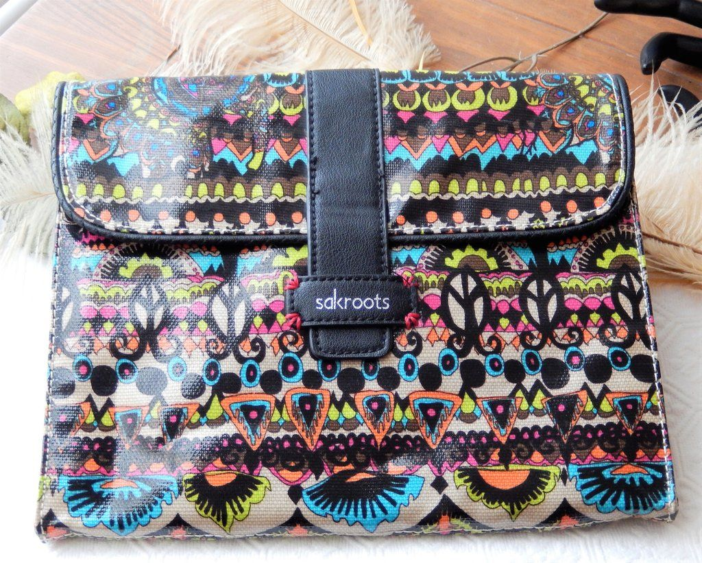 Sakroots Coated Canvas Multi Color Neon One World Padded Tablet Case Cover