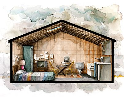 Architectural Drawings Of Famous Buildings watercolor perspective section and floor plan of room in lenny