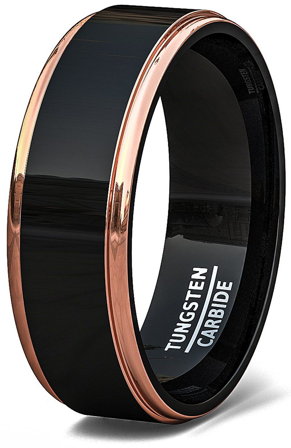 Mens Wedding Band Two Tone Black Tungsten Ring 8mm Rose